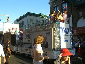WNJU - A float representing WNJU Telemundo 47 at the Cuban Day parade at Union City, New Jersey.