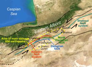 856 Damghan earthquake - Image: 856 Damghan setting