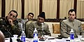A. K. Antony, the Chief Minister Jammu & Kashmir, Shri Omar Abdullah and the Chief of Army Staff, General Deepak Kapoor avidly listening to a presentation on Security situation in the State, during his visit to Jammu.jpg