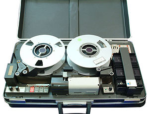 "Video tape recorder - The first ""portable"" VTR, the suitcase-sized 1967 AMPEX quadruplex VR-3000"