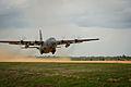 A Nevada Air National Guard C-130H Hercules aircraft takes off at the Geronimo landing zone during Joint Readiness Training Center (JRTC) 14-05 training at Fort Polk, La., March 14, 2014 140314-F-XL333-090.jpg