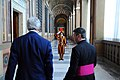 A Swiss Guard Salutes Secretary Kerry During his Tour of the Vatican (11948663263).jpg