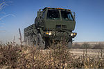 A U.S. Air Force truck assigned to the 726th Air Control Squadron (ACS), part of a six-truck convoy, moves across the Idaho desert, roughly 75 miles from Mountain Home Air Force Base in Idaho, Oct. 4, 2013 131004-F-WU507-061.jpg