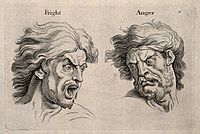A frightened and an angry face, left and right respectively. Wellcome V0009326.jpg