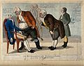 A gagging man surrounded by confused consultants and medical Wellcome V0011041.jpg