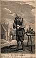A man applying a plaster to his hand outside in a rural sett Wellcome V0016789.jpg