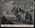 A man in a fez is leading a richly decorated horse past an o Wellcome V0021158.jpg