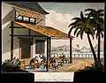 A tea plantation in China; workers make tea chests. Coloured Wellcome V0019217.jpg