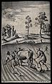 A team of oxen being made to pull a plough. Engraving by M. Wellcome V0025739.jpg