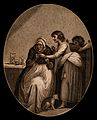 A woman doctor examining a young girl's finger. Engraving af Wellcome V0016023.jpg