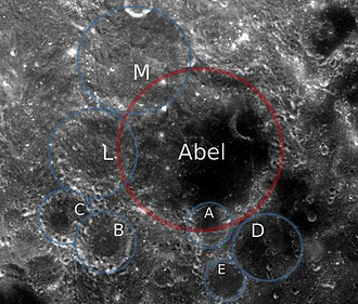 Abel (crater) - Abel crater and satellite craters