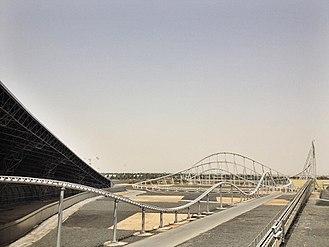 Ferrari World Abu Dhabi - Formula Rossa as seen from a ride in Ferrari World