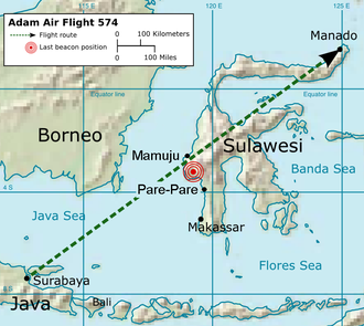Adam Air Flight 574 - Flight Route of  flight 574