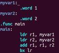 Addition zweier Zahlen programmiert in Assemblercode.png