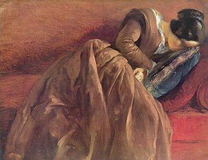 Adolph Menzel - Emilie Menzel Asleep, c. 1848. Oil on paper, 46.8 x 60 cm. Hamburger Kunsthalle.