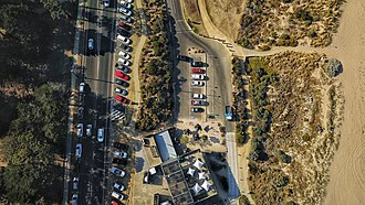 Torquay, Victoria - Aerial perspective of the Salty Dog Cafe at Torquay. March 2019.