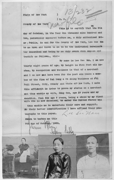 File:Affidavit of Lee See Nam with photographs of his wife and daughter. - NARA - 278590.tif