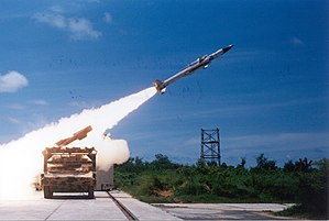 Integrated Guided Missile Development Programme - An Akash missile being test fired from the Integrated Test Range (ITR), Chandipur, Orissa. The launch platform is a BMP-2 vehicle