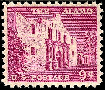 Second stamp, issued in 1956, depicts the facade of the Alamo mission. Alamo 1956 9c.jpg