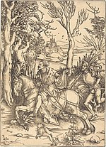 Albrecht Dürer, The Knight on Horseback and the Lansquenet, c. 1496-1497, NGA 619.jpg