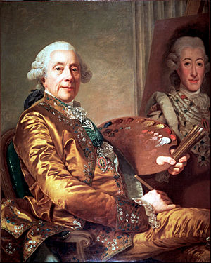 Alexander Roslin - Self Portrait while Painting the King of Sweden 1785