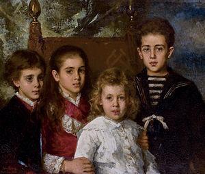 Pavel Pavlovich Demidov, 2nd Prince of San Donato - Pavel (1879-1909), Avrora (1873-1904),  Maria (1876-1955) and Anatoli (1874-1943). (Alexei Harlamov, 1883)