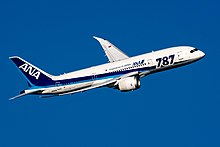 Boeing 787 in launch customer All Nippon Airways' blue and white livery