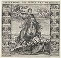 Allegorisch ruiterportret van Frederik Hendrik na de verovering van Maastricht, 1632 Stede-kroon des Prince van Orangien (titel op object) Invictiss Heroi Frederico Henrico Principi Auriaco Com. Nass. etc. Foed. Belgia, RP-P-OB-81.350A.jpg