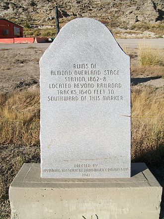 Overland Trail - A stone marker denoting the Almond stage stop at Point of Rocks, WY