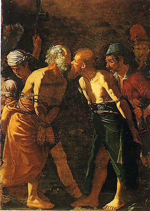 Kiss of peace - Farewell of Saints Peter and Paul, showing the Apostles giving each other the holy kiss before their martyrdom. (Alonzo Rodriguez, 16th century, Museo Regionale di Messina).