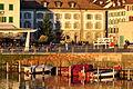 Alters- und Pflegeheim Bürgerspital am Fischmarktplatz in Rapperswil und der Hafen, Ansicht vom Seedamm bei Sonnenuntergang 2011-11-17 16-13-16.JPG