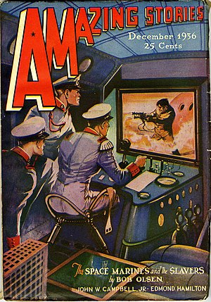 Space marine - Amazing Stories December 1936, an early illustration of space marines.