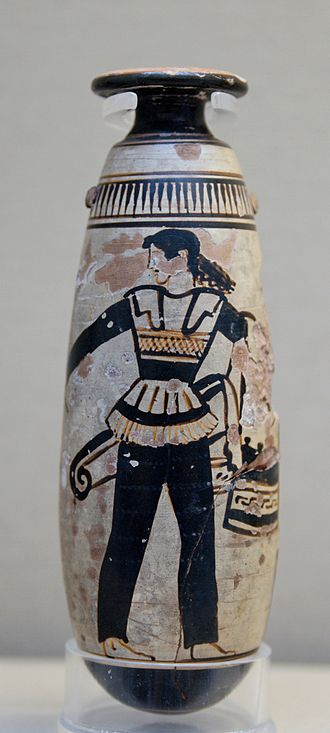 Trousers - Amazon wearing trousers and carrying a shield with an attached patterned cloth and a quiver. Ancient Greek Attic white-ground alabastron, c. 470 BC, British Museum, London