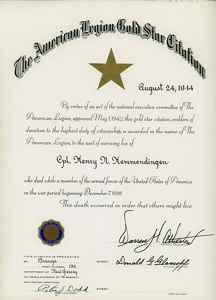 File:American Legion Gold Star Citation, Henry Hemmendinger, 1944 (8043325097).jpg