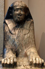 Small gneiss sphinx inscribed with the name of Amenemhat IV and reworked in Ptolemaic times on display at the British Museum.[1]