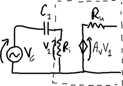 Amplifier with high-pass RC cell.png