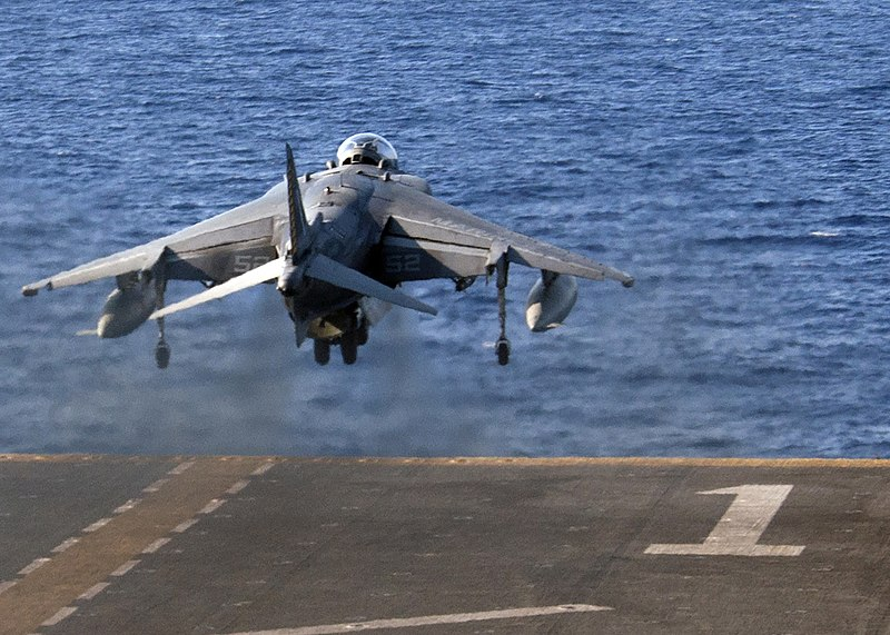 An AV-8B Harrier takes off from the flight deck of USS Wasp (LHD 1) Aug. 8, 2016. (28829655742).jpg