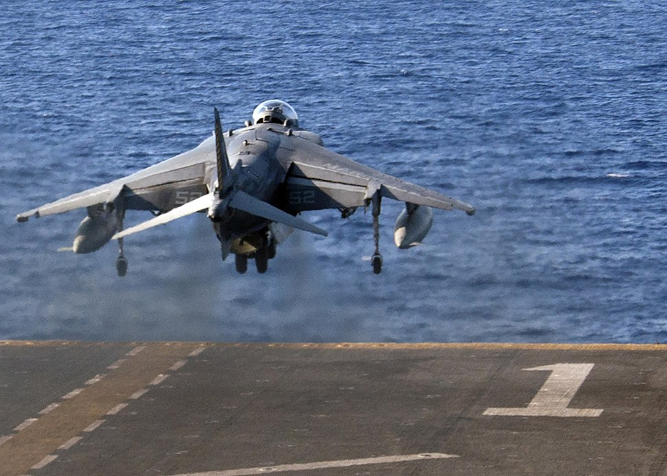 An AV-8B Harrier takes off from the flight deck of USS Wasp (LHD 1) Aug. 8, 2016. (28829655742)