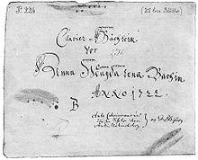 Clavier-Büchlein vor Anna Magdalena Bachin Anno 1722, Deckblatt (Quelle: Wikimedia)