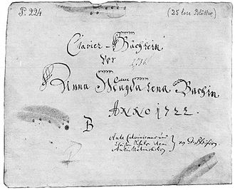 Notebook for Anna Magdalena Bach - Title page of the first (1722) Notebook for Anna Magdalena Bach. Note the titles of the three Pfeiffer books written by Bach in the lower right corner.