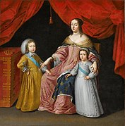 Anne of Austria (Queen mother) with her two sons Louis XIV of France and Philippe, Duke of Orleans (unknown artist).jpg