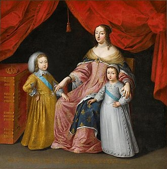 Cardinal Mazarin - Anne of Austria with her children Louis XIV of France and Philippe, Duke of Orléans (unknown artist)