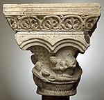 Anonyme toulousain - Chapiteau de colonne simple , La Descente de croix et la Mise au tombeau - Musée des Augustins - ME 134 (2).jpg
