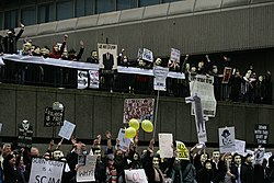 Anonymous demonstration in London against the Church of Scientology.