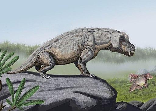Anteosaurus in landscape