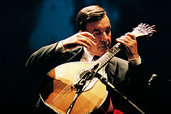 The Portuguese guitar most notable for its use in the traditional Portuguese Fado music.