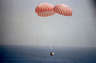 Apollo 9 - Apollo 9 approaches splashdown in the Atlantic Ocean, March 13, 1969