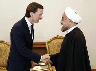 Sebastian Kurz - Kurz with Iranian President Hassan Rouhani, 28 April 2014