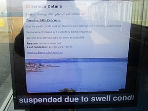 Argyll Ferries - Service details notice at waiting room on 14 February 2017; sailings suspended due to swell conditions at Dunoon pier, replacement buses being organised.