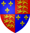 Coat of arms of the kings of England after 1422, with the fleur-de-lys of France.
